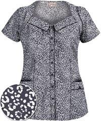 UA Women's Pure Instinct Grey Stone Rolled Collar Scrub Top
