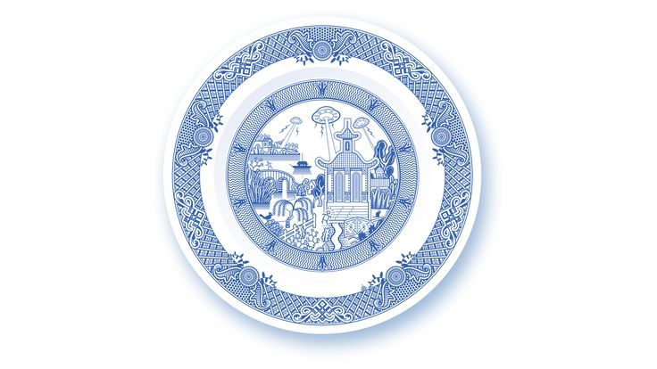 UFO invasion threatens tranquility of traditional blue dinner plate.