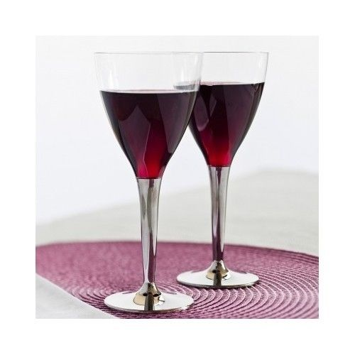 Plastic Wine Gles 100 Disposable With Silver Stem Catering Event Wedding Sabert Alloccasions