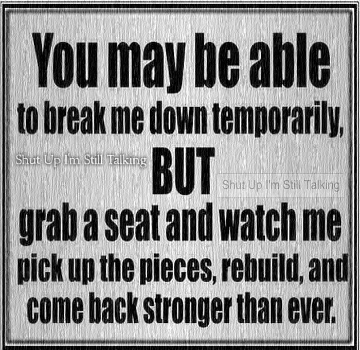 You May Be Able To Break Me Down Temporarily But Grab A Seat And