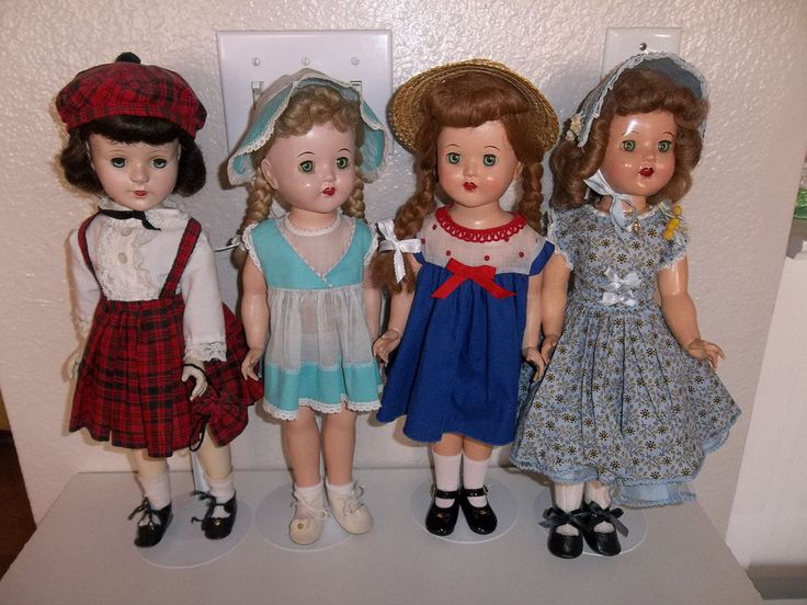"Lot of 4 Vintage 1950s 17"" Hard Plastic Dolls - 3 Mary Lu dolls and 1 Unknown"