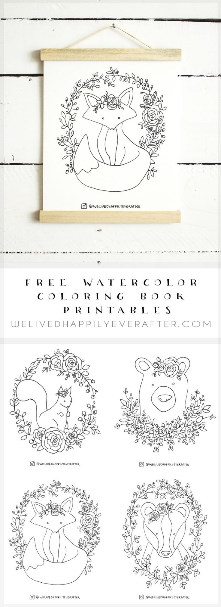 Free Watercolor Adult Coloring Book Printable Sheets - Woodland Forest Animals Part 1 (Fox, Bear, Squirrel, Badger)