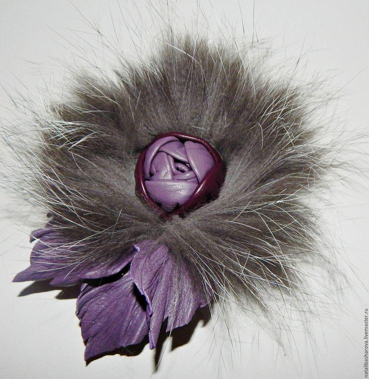 """Купить брошь из кожи и меха, цветы из кожи""""Изабель"""" украшения - сиреневый, кожа натуральная, мех натуральный"""