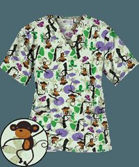 UA Monkey See Monkey Do Green Print Scrub Top This site has the CUTEST scrubs for dirt cheap-love, love