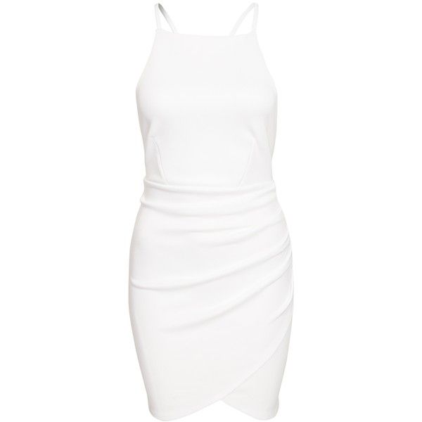 Nly One Cross Strap Mini Dress (€6,34) ❤ liked on Polyvore featuring dresses, vestidos, white, party dresses, womens-fashion, white dresses, short dresses, short bodycon dresses, wrap skirts and white jersey