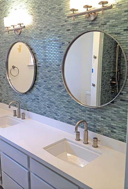 Surfz Up Hand Painted Glass Mosaic Subway Tiles