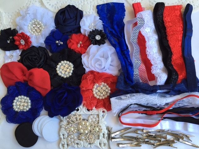 DIY headband kit, All American Girl Set, headband set, wholesale headband supplies, baby shower gift, headband party, baby girl headbands by chicnclassy on Etsy