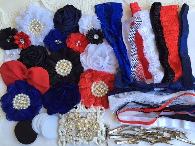 DIY headband kit, All American Girl Set, headband set, wholesale headband supplies, baby shower gift, headband party, baby girl headbands by chicnclassy on Etsy