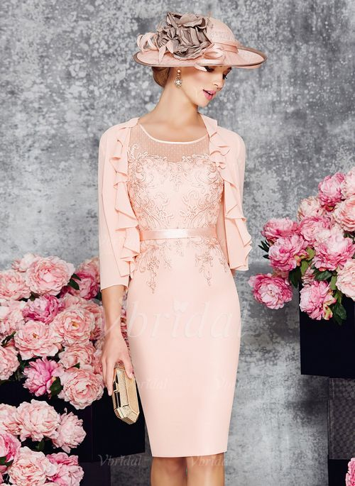 Mother of the Bride Dresses - $109.00 - Sheath/Column Scoop Neck Knee-Length Chiffon Mother of the Bride Dress With Appliques Lace (0085099922)