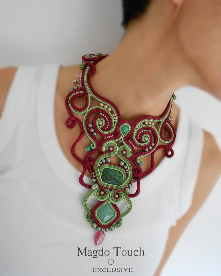 'Vinyard'  Brand new statement necklace will be in the shop soon ☺ Stay tuned! #fashion #instafashion #soutache #statement #necklace #perfect #elegant #modern #contemporary #accessories #for #her #lifestyle #darkred #green #womansfashion #readytowear #style #stylish #musthave #springfashion #nyc #la #etsy #etsyshop #magdotouch