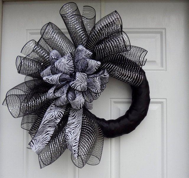 Black Metallic & Silver Elegant Zebra Print Mesh Wreath.