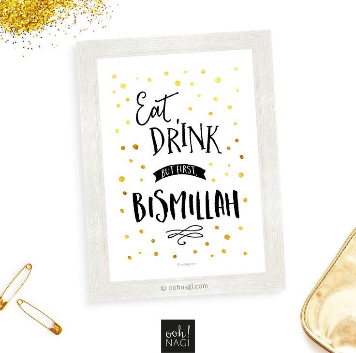 Islamic, quirky, muslim, eat, drink, bismillah, gold, polka dots, dots, art print, designer