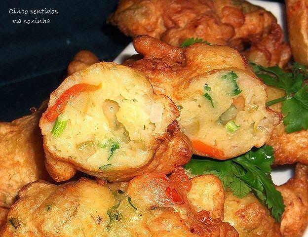 Cinco sentidos na cozinha: Pataniscas de peixe e legumes - aproveitamento de sobras