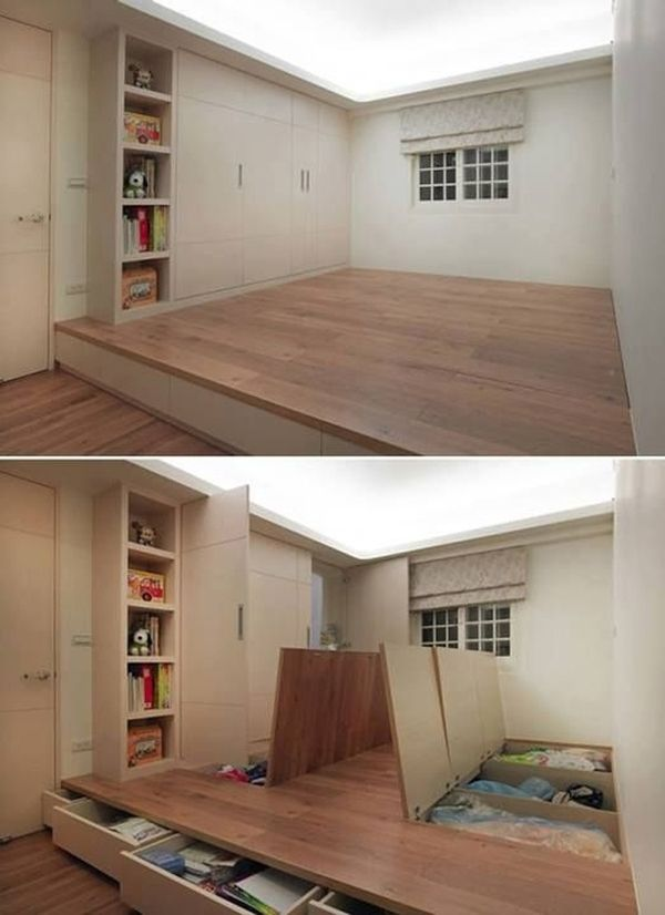 It has some interesting Japanese-like inspirations. - a murphy bed in the wall cupboards would be cool... and perhaps a flip down desk on the other wall, so you have multiple rooms in one, and all you have to do is roll a chair out of the way.