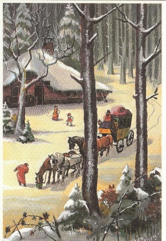 Rijtuig in de sneeuw - W.G. van de Hulst. Kaart