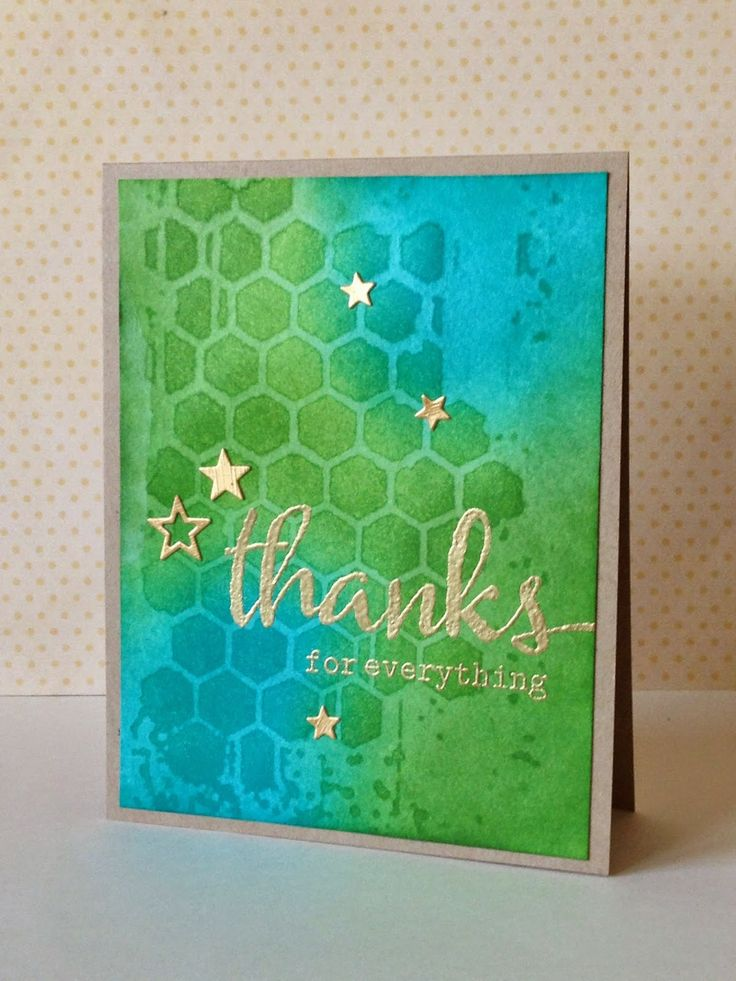 """handmade card from three umbrellas ... greens and blues with water stencil technique for hexagon background ... gold """"thanks"""" and stars embossed on top ... fabulous card!!"""