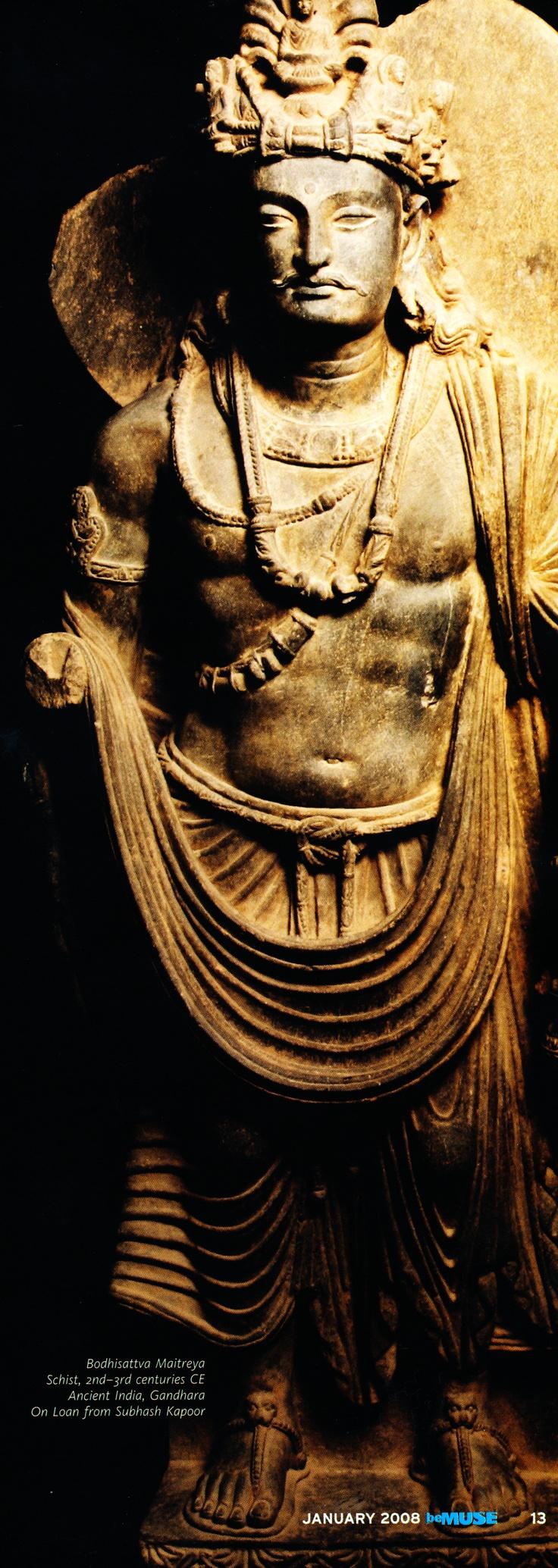 Maitreya Buddha, 2nd Century CE, Ancient India, Gandhara Civilization.   Credit: On The Nalanda Trail exhibition, Singapore. - Greco-Buddhist art