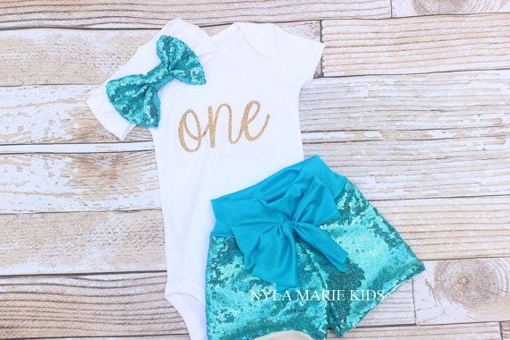 Frozen birthday outfit, aqua sequin shorts, first birthday outfit, glitter onesie