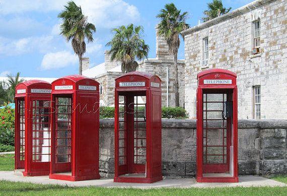 Bright Red Bermuda Telephones Print  Bermuda by NJSimages on Etsy, $16.00