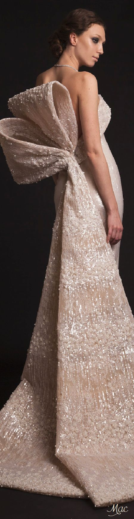 Krikor Jabotian ~ Couture Blush Sequinned Gown w Large Back Bow, Spring 2015