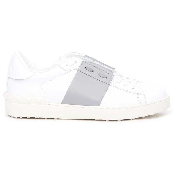 Valentino Garavani Open Low Top Sneaker (€385) ❤ liked on Polyvore featuring shoes, sneakers, bianco, low profile shoes, valentino sneakers, low profile sneakers, valentino shoes and low top