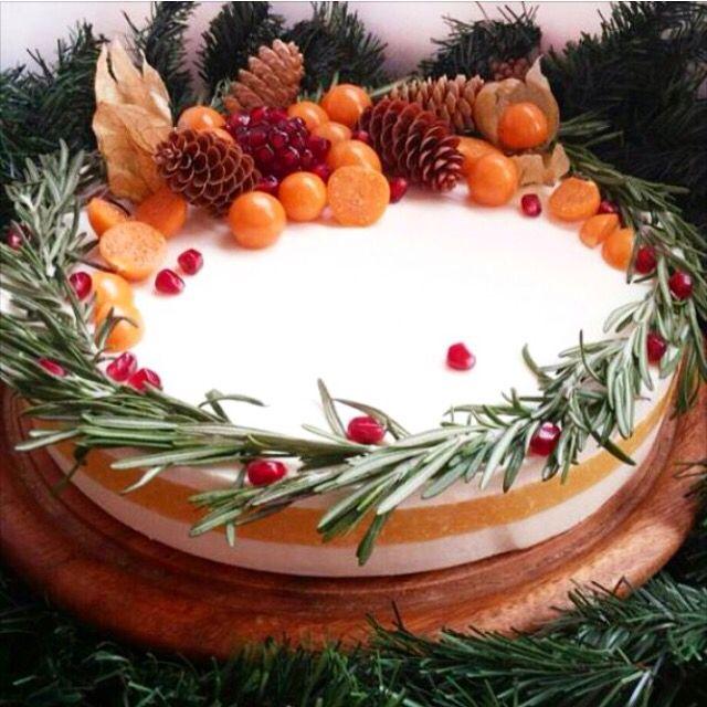 """""""Новогодний"""" чизкейк без выпечки с апельсиновым желе. Автор Instagram.com/Baby_Time_Beautiful"""