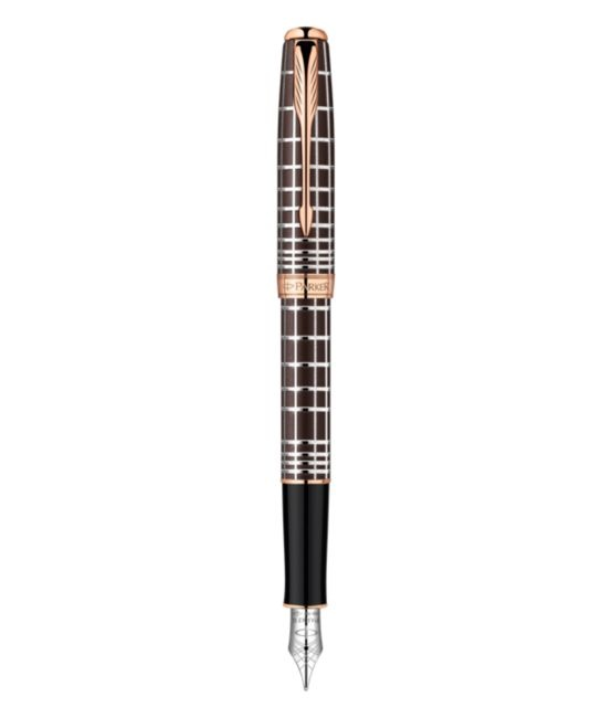 Sonnet - A unique facetted pattern for a contemporary rendering, a soft and metallic tactile sensation.. Pink Gold PVD trims and 18K Gold. Available as Fountain Pen, RollerBall or Ballpoint.