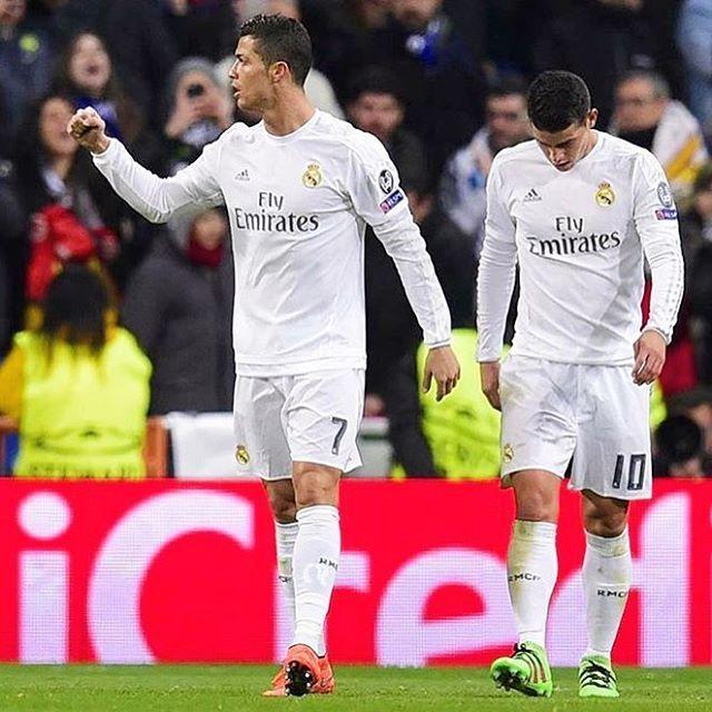 It ends #RealMadrid 2-0 #Roma  Goals by #James & #Ronaldo! Ronaldo scored his 90th #ChampionsLeague goal! Via @uefachampionsleague