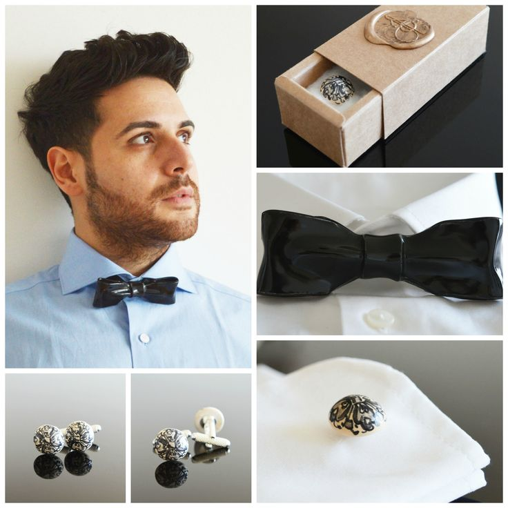 These ceramic accessories for men make a truly innovative statement. Black bow tie and black flower cuff links go great together and will look amazing with a white shirt and a black suit. Very classy and perfect for a wedding, maybe even your own!