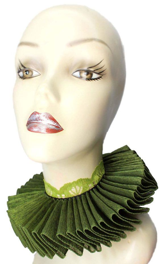 Ruffled Collar Olive Martini Elizabethan Neck by JenkittysCloset