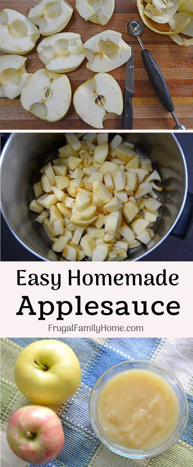 Two Ingredient Easy Homemade Applesauce Recipe- This homemade applesauce recipe is so easy to make with only two ingredients it's healthy too. It's prepared on the stovetop with no sugar added. We love this super simple applesauce recipe.