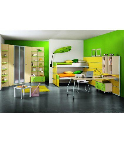 Детская комната «Милано» - композиция в стиле модерн цвета березы яркой желто-зеленой отделке. Все предметы обладают огромной функциональностью. Шкафы, стол и двухярусная кровать спроектированы с учетом эргономики ребенка и экономят место в комнате. Внутреннее наполнение шкафов (размещение и количество полок и перекладин) может быть сформировано по Вашему желанию. Эту и другие детские комнаты можно приобрести на нашем сайте http://elpaso-studio.ru/63_group