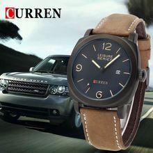 O mais quente de marcas de luxo populares curren8158 men quartz watch relogio feminino militar relógios de couro homens reloj frete grátis(China (Mainland))