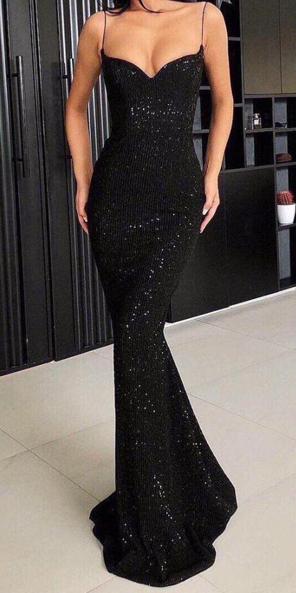 Spaghetti Strap Black Sparkle Popular Long Prom Dresses