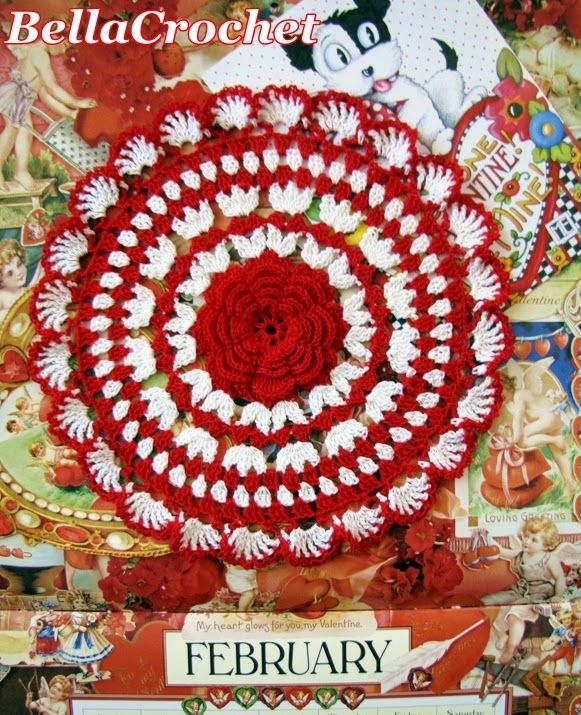 """Ruby's Valentine Doily     By Elizabeth Ann White   For BellaCrochet     Size:  About 9"""" across     Materials:   Size 10 Cotton Croche..."""
