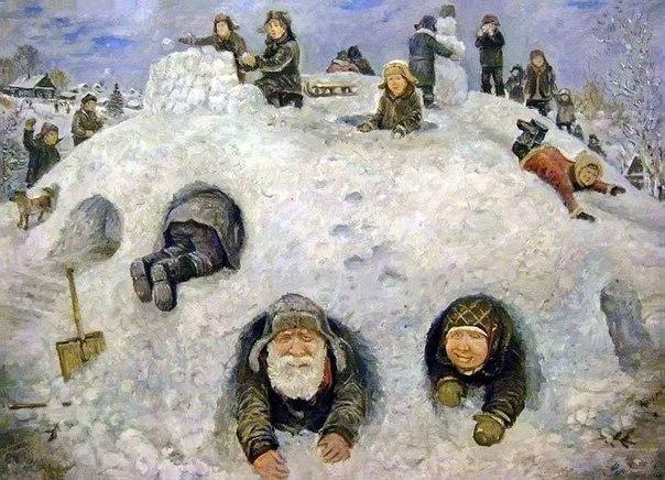 """Чё, старый, застряло брюхо? """"Старость – радость"""", душевные картины талантливого уральского художника Леонида Баранова"""