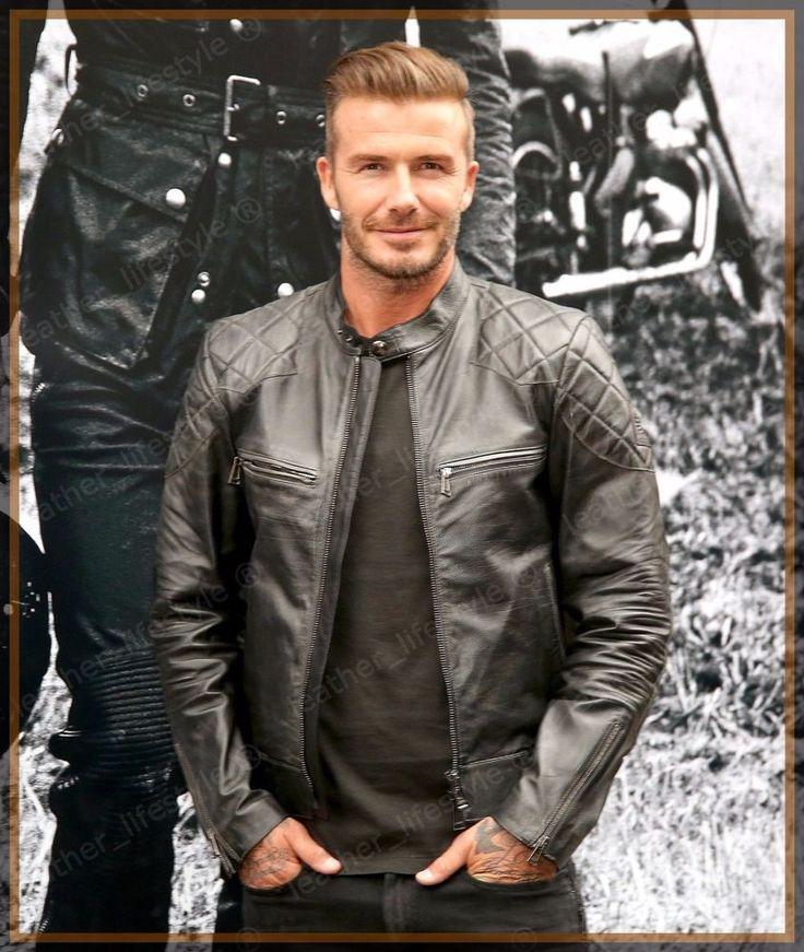 David Beckham Genuine Men Stylish Biker Motorcycle Leather Jacket Football Star #LeatherCraze #Motorcycle