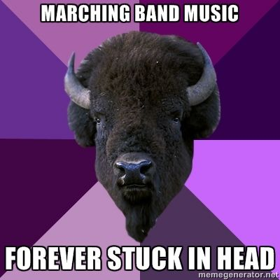 Marching Band Problems *immediately starts singing opening song* means you know all the words to on bison. including bison once bison twice