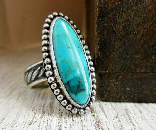 Modern Western Turquoise Ring Long Oval Natural Blue Rope Band | WestWindCreations - Jewelry on ArtFire