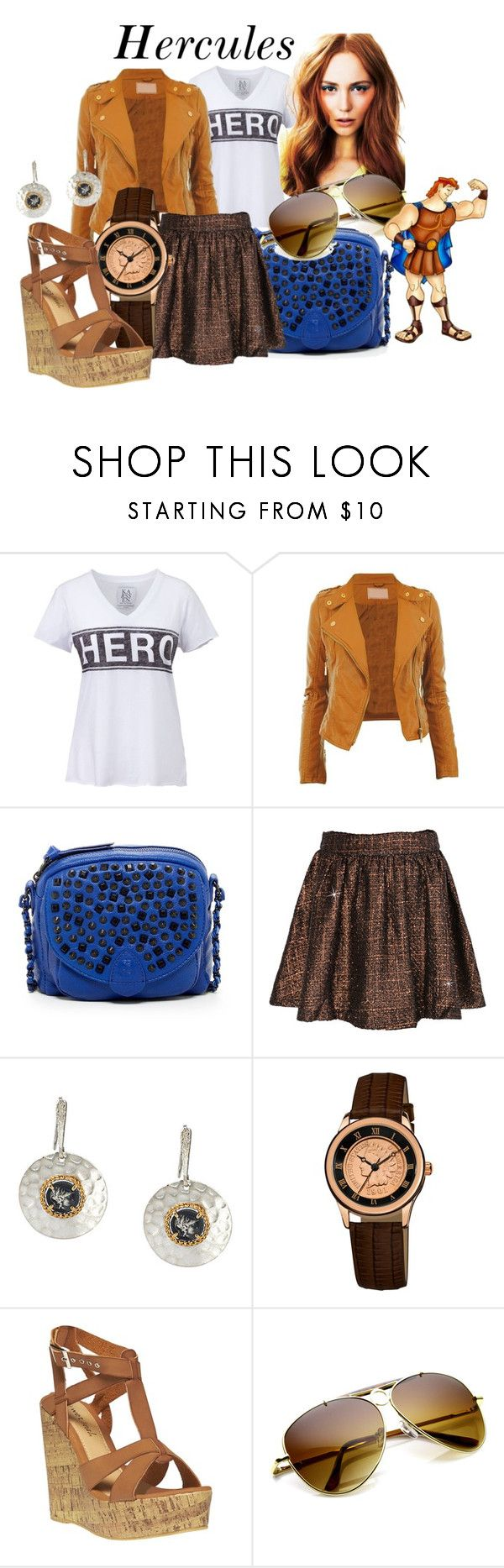 """Hercules"" by kyalvarez ❤ liked on Polyvore featuring Zoe Karssen, The Sak, August Steiner, Wet Seal, Disney, Fall, hero, disney and hercules"