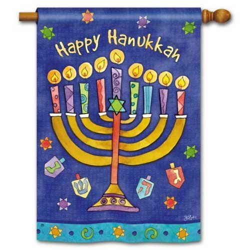 """Happy Hanukkah House Flag by BreezeArt. $21.95. Silky Soft, Fade and Mildew Resistant SolarSilk Fabric.. Buy direct from Flags On A Stick and save on all your decorative flags today!. Hand wash, cold water, mild soap.. BreezeArt Decorative House Flag Dimensions: 28"""" x 40"""".. BreezeArt® Premium Flags are made of exclusive SolarSilk® 600 denier polyester for greater durability, yet they have a softer, silkier feel for better drape and movement. Fade and mildew resistant."""