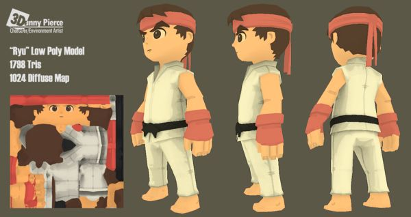 Ryu Low Poly Character Model by Danny Pierce, via Behance