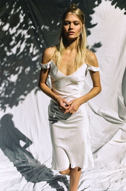 Rebecca Szulc in white cold shoulder slip dress The Honey Suckle Dress by Hansen and Gretel photographed by Brydie Mack
