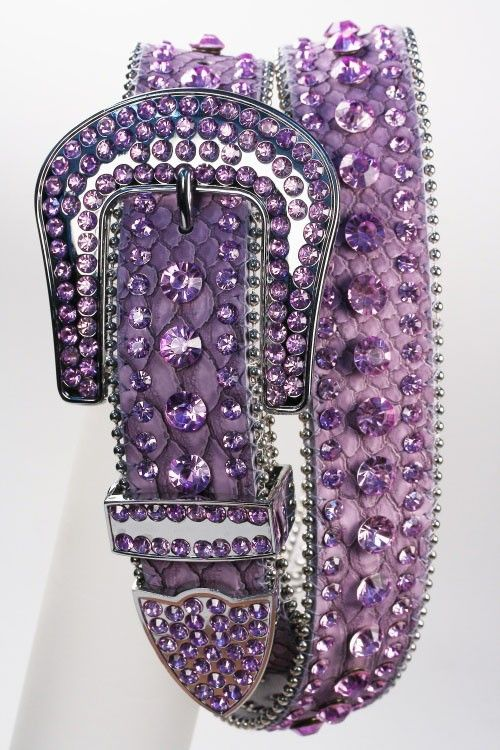 Crystal Studded Leather Belt Purple, $59.00 (http://www.cowgirlblingranch.com/products/crystal-studded-leather-belt-purple.html)