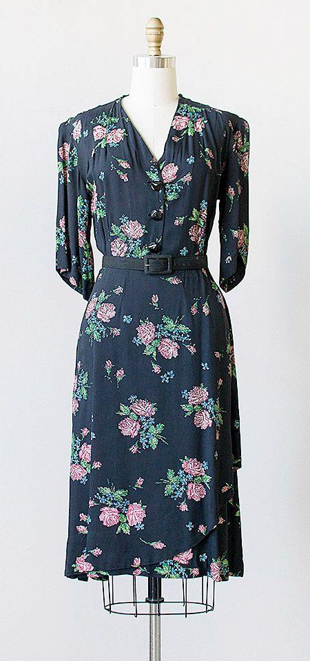 vintage 1940s dress | 40s vintage floral dress #vintagedress #1940s