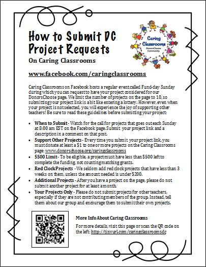 How to submit a request to have your DonorsChoose project added to the Caring Classrooms Giving Page