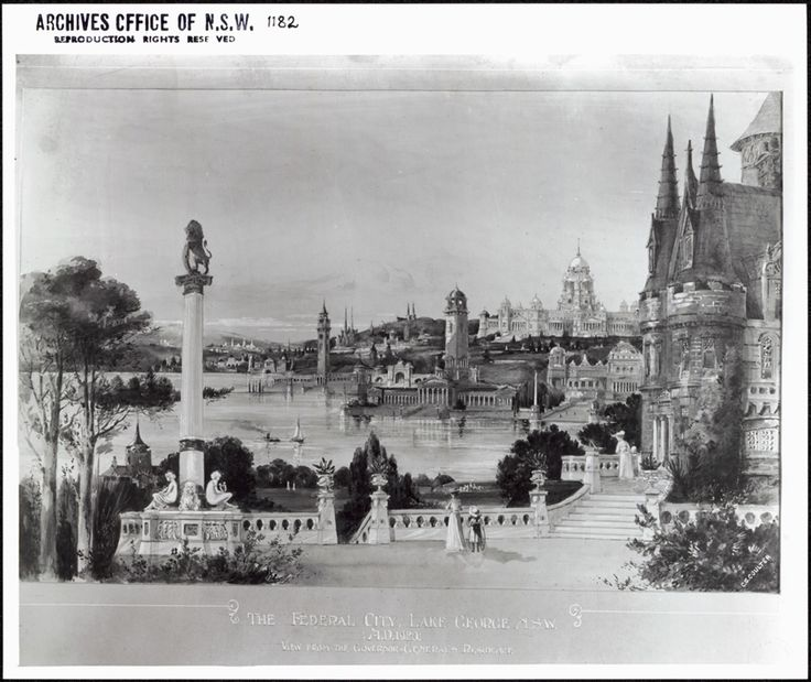 Artist's impression of planned Federal Capital, 1920. Canberra looks nothing like this.