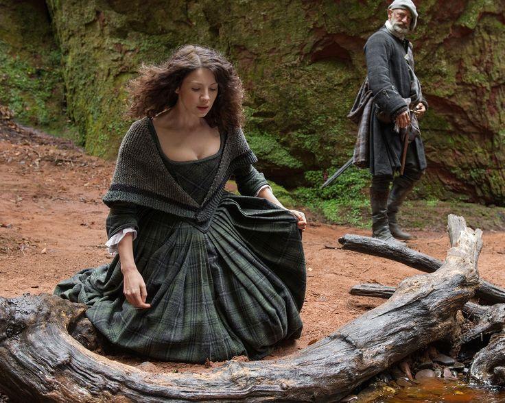 """Claire (Caitriona Balfe) and Dougal (Graham McTavish) in Episode 106 """"The Garrison Commander"""" from Outlander on Starz via http://outlandertvnews.com/2014/09/official-photos-from-outlander-episode-106-the-garrison-commander/"""