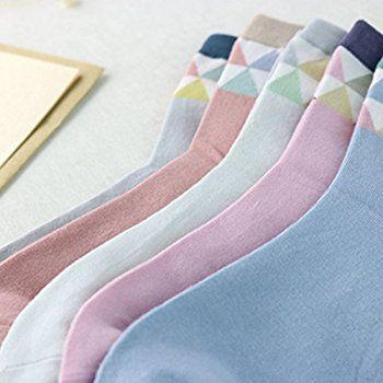 Yantu Damensocken Baumwolle frei komfortable Sportsocken Animal Cartoon Streifen Socken Prints Socks, 5 Paare Mehrfarbig (Streifen)