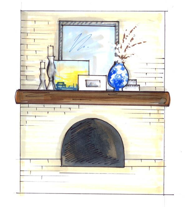 mantel tip - one big thing in middle, 3 smaller items on left candlesticks work well, a bigger item on right like vase with flowers or branches then fill in middle with smaller items